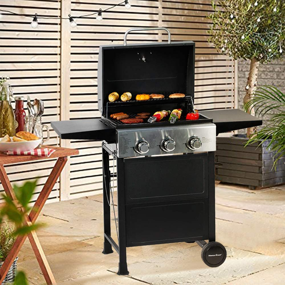 MASTER COOK 3 Burner BBQ Propane Gas Grill with Two Foldable Shelves